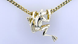 Custom gold frog pendant on gold chain